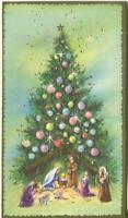 VINTAGE CHRISTMAS TREE ORNAMENTS NATIVITY MANGER SHEEP EMBOSSED GREETING CARD