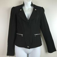 White House Black Market Blazer Jacket Zip Front Zipper Pockets sz 2 Black