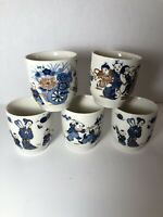 Vtg Norleans China Meito Porcelain Sake Tea Cups Sumo Geisha Japan Set Of 5
