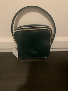 SEPHORA Play Luxe DARK GREEN Zipper Strap Cosmetic Makeup CASE Bag FAUX LEATHER