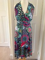 Multi Coloured Dress By Scoop Fitted Top Long Sash Size 10