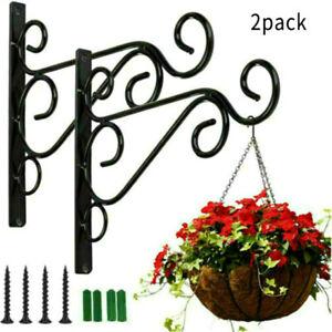 2X Heavy Duty Metal Hanging Basket Brackets Garden Flower Hanger Hook Wall Decor