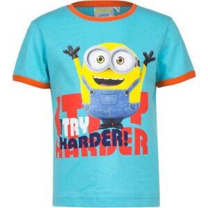 Minions Kinder T-Shirt I TRY HARDER Aqua Blau Türkis Illumination 98 - 128