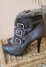Size 7 Marks and Spencer Autograph brown leather high heel faux fur ankle boots