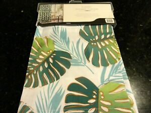 new~fabric SHOWER CURTAIN~Ferns Palm~Tropical Forest Look Teal Blue~Green Jungle