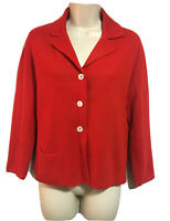 JAEGER COURTELLE Vtg 80s Red Knit Cardigan Preppy Jacket Autumn/Winter UK 8 34