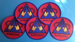 5 Lot Vintage 1980's Nunchucks Kung Fu Martial Arts Nunchaku Jacket Patches 333