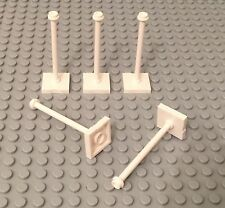Lego X5 New White Tile 2x2 w/ Bar and Stud with Stop Ring / Road signs Post Base