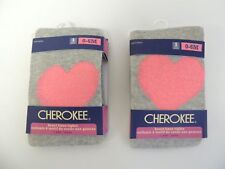 New, Cherokee Pink/ Gray Heart Knee Tights, 0-6 Months ( 2 Pack )