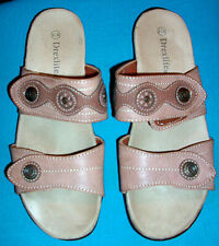 Drexlite Buff Color Slipon Sandals w/Adjustable Straps & Medallion Accents-8-1/2