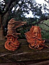 Antique DRIFTWOOD Santa Claus Old Man of the Sea Unique Estate ▬ Set Of 2 ▬ ❤️