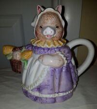Heritage Mint Collectible Teapot Mama Pig Purple Dress Corn Gardening Basket