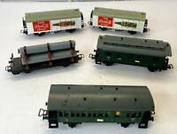 Liliput Austria Lot of 5 HO Scale Freight / Passenger Cars Two Coca-Cola Train