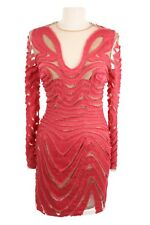 Tom Ford Silk $7400 40IT/4US/36EU Frayed Cut Out Nude Mini Dress Coral Pink