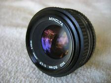 MINOLTA MD 50MM F1.7 LENS W/FILTER