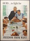 """1943 Ours To Fight For Freedom From Want Norman Rockwell Poster 27.75"""" x 20"""""""