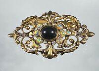 Vintage Victorian Gold w Black Stone Australian Halo Crystals Pin/Brooch