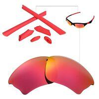 New Walleva Polarized Fire Red Lenses And Rubber Kit For Oakley Half Jacket XLJ