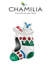 Genuine CHAMILIA 925 silver Swarovski FANCY STOCKING charm bead Christmas