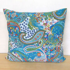 """24"""" Cushion Cover Kantha Stitch Multicolor Pillow Cover Handmade Room Decorative"""