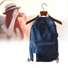 Vintage Distress Casual Denim Backpack Rucksack School Travel Bag Deep Blue AC