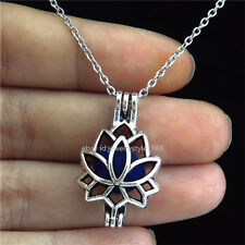 STV52 Antique Pearl Bead Cage Summer Lotus Locket Necklace Women Stainless Chain