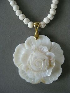 Lovely Carved White Shell Flower Pendant Necklace with White Tourmaline Beads