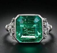 Antique Green Sapphire Engagement Ring 3.5 Ct Emrald Diamond 14K White Gold Over