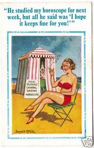 DONALD McGILL #2178 - Beach Horoscope Tent, Lady Smoking - c1950s comic postcard