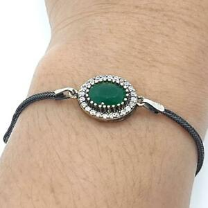 Deco 1.90ctw Emerald & Diamond Cut White Sapphire 14K Yellow Gold 925 Bracelet
