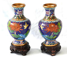 LOVELY PAIR OF OLD ENAMEL CLOISONNE CHINESE VASES ON STANDS BIRD & FLOWERS