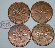 Canada 1985 x 4  1 Cent Copper Canadian Pennies Coins  Lot #K18