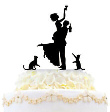 Personalized Drunk Bride Funny Wedding Cake Topper With Two Cats Silhouette