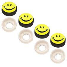 4 Black Custom License Plate Frame Screw Snap Caps Covers SMILE Face