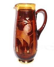 Saftkanne / Glaskrug 28,5 cm - Egermann Czechos - beschliffen und vergoldet