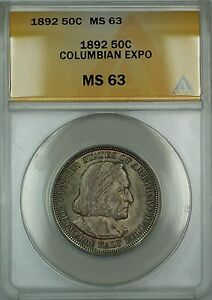 1892 Columbian Commemorative Silver Half Dollar Coin ANACS MS-63 Lightly Toned