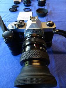 PENTAX MX, Spiegelreflexkamera,analog mit Winder, 3 Objektiven, Filter, Zubehör