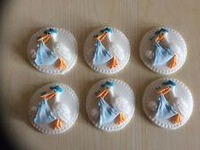 6 Edible sugar paste cupcake stork toppers christening/baby shower blue