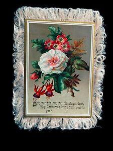 "6"" Victorian Dbl-Sd Silk Fringe Greeting Card 1880's"