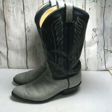Tony Lama mens Western blue gray leather cowboy Boots Shoes size 10.5D 8056
