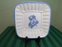 Pfaltzgraff Plate Yorktowne Square Basket Weave Plate USA Blue Vintage HG11