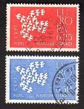 TIMBRES 1961 EUROPA CEPT LOT DE 2 TIMBRES OBLITÉRÉS CACHET ROND