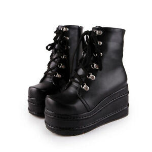 Women's Punk Goth Ankle Boots Platform Shoes Lace up Creepers Shoes Booties HOT