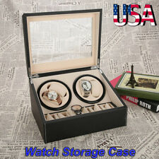 Automatic 4+6 Watch Winder Rotation Case PU Leather Display Box jewelry Storage
