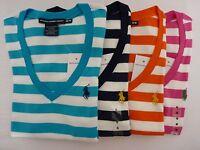 NEW Ralph Lauren Women's Striped Short Sleeve V Neck T Shirt XS Sale! Last One!