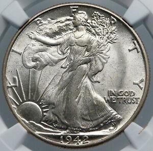 1942 WALKING LIBERTY Half Dollar Bald Eagle United States OLD Silver Coin i89160