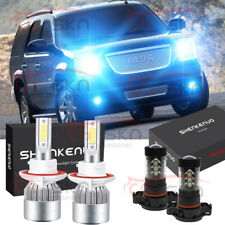 For GMC Yukon 2007 - 2014 LED Headlights Kit High Low Beam Fog Light 8000K Bulbs