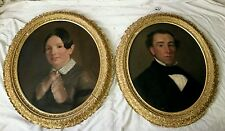 """Pair of Fine Antique 19th C.Victorian Oil on Canvas Portraits """"Husband and Wife"""""""