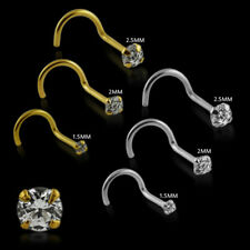 20G 9K Solid Yellow Gold Jeweled Round Cut Stone Prong-Set Nose Screw