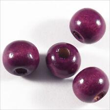 Lot de 50 perles rondes en Bois 10mm Violet Pourpre